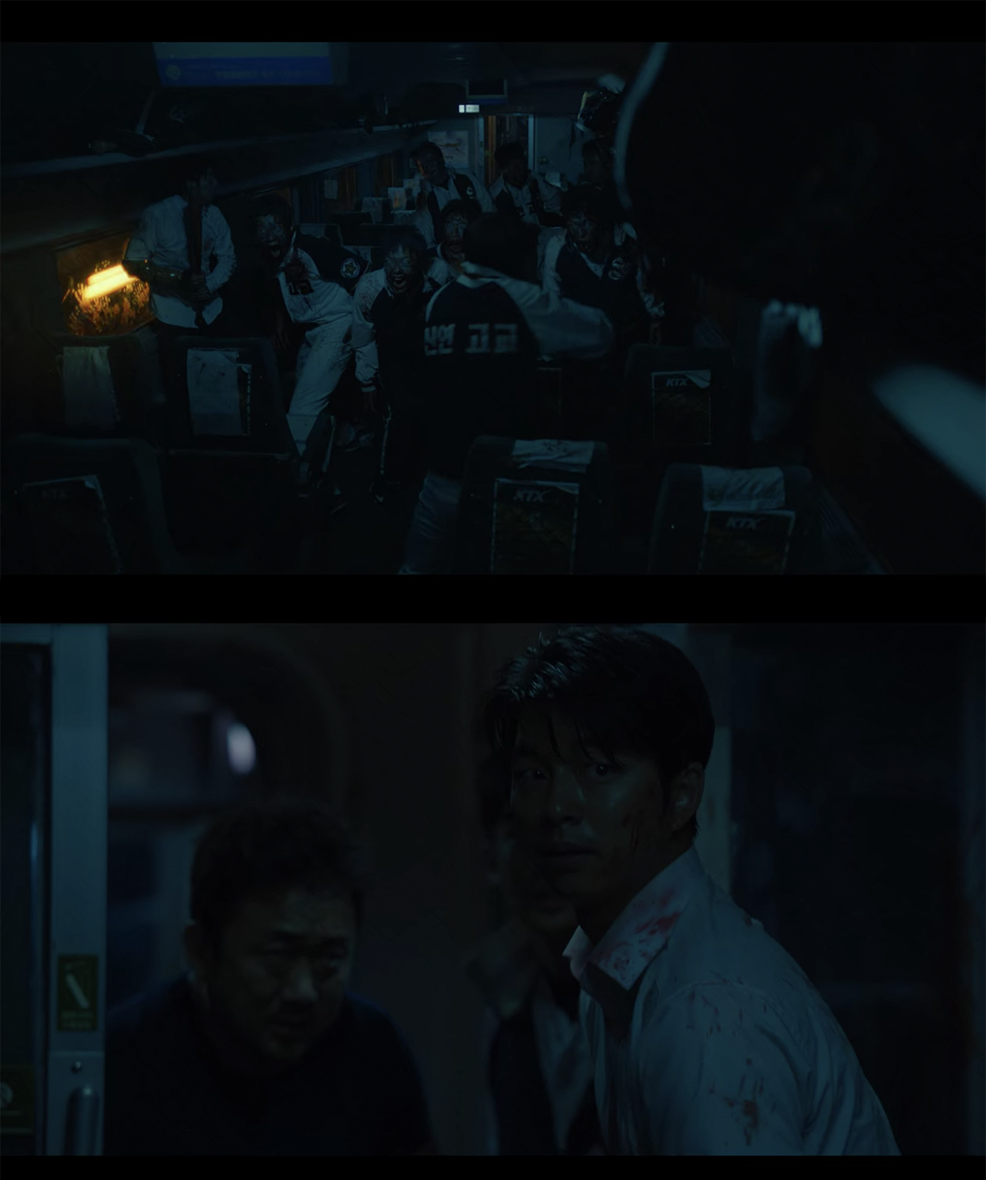 dark scenes from korean zombie movie train to busan, zombies can't see in the dark, so they only follow sounds
