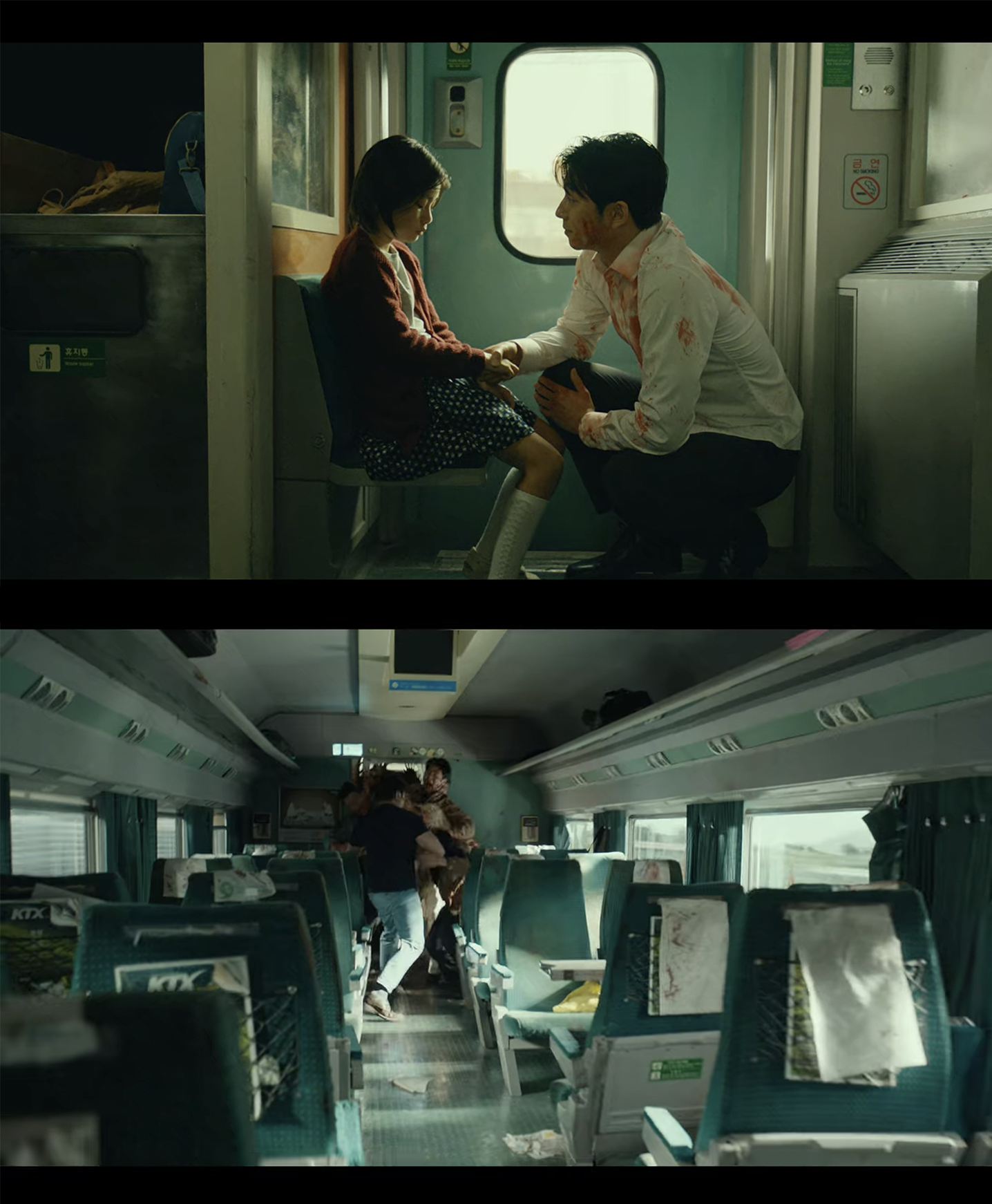 scenes of the train on kmovie train to busan directed by yeon sang ho