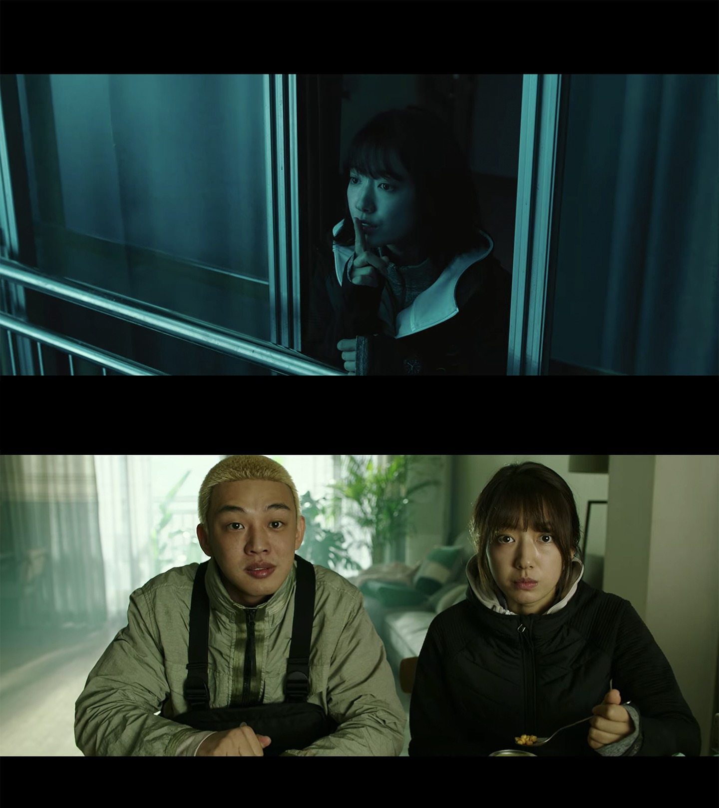 korean zombie movie #alive showing two survivors, yoo ah-in and park shin-hye