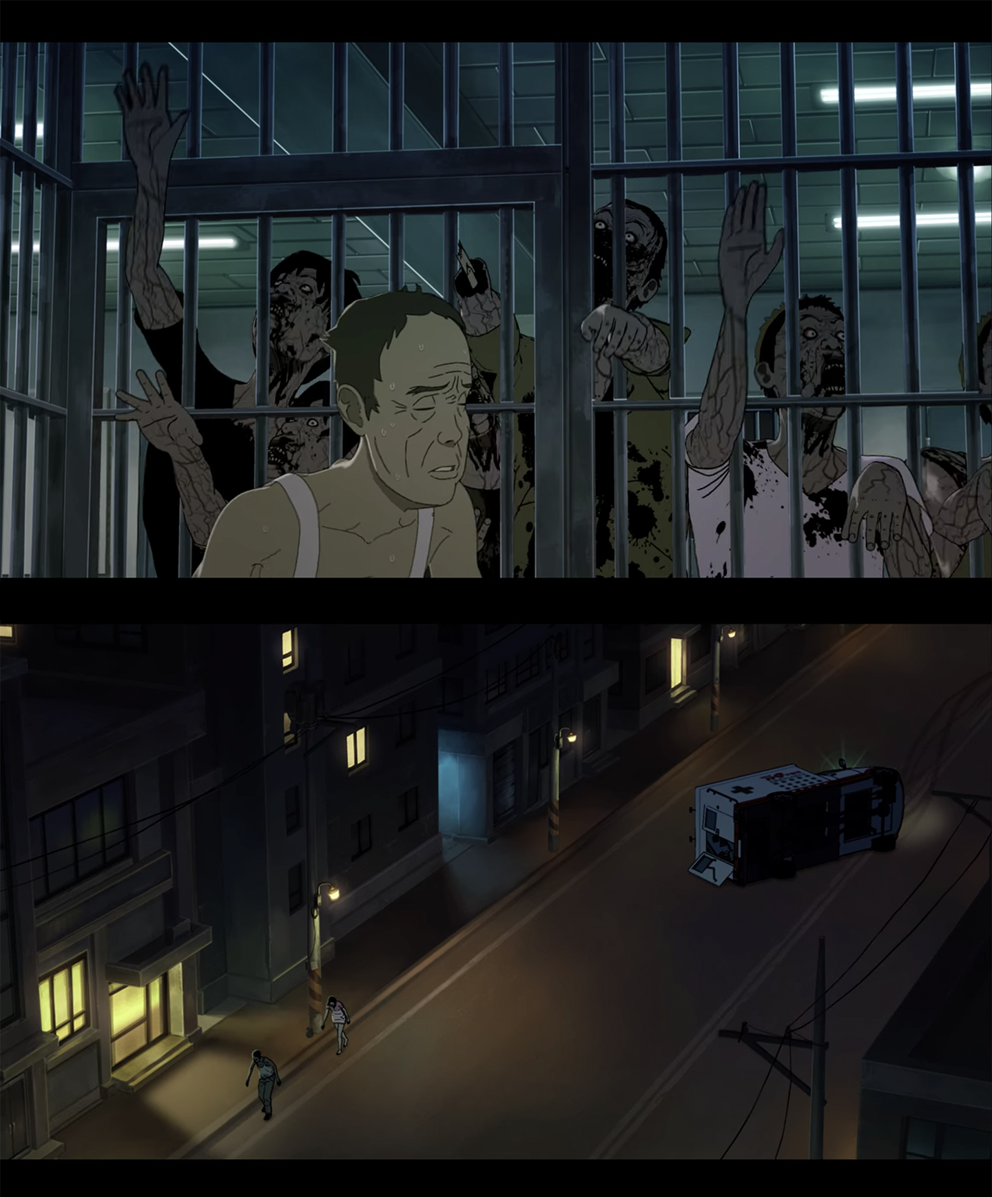 animated scenes from seoul station, train to busan prequel