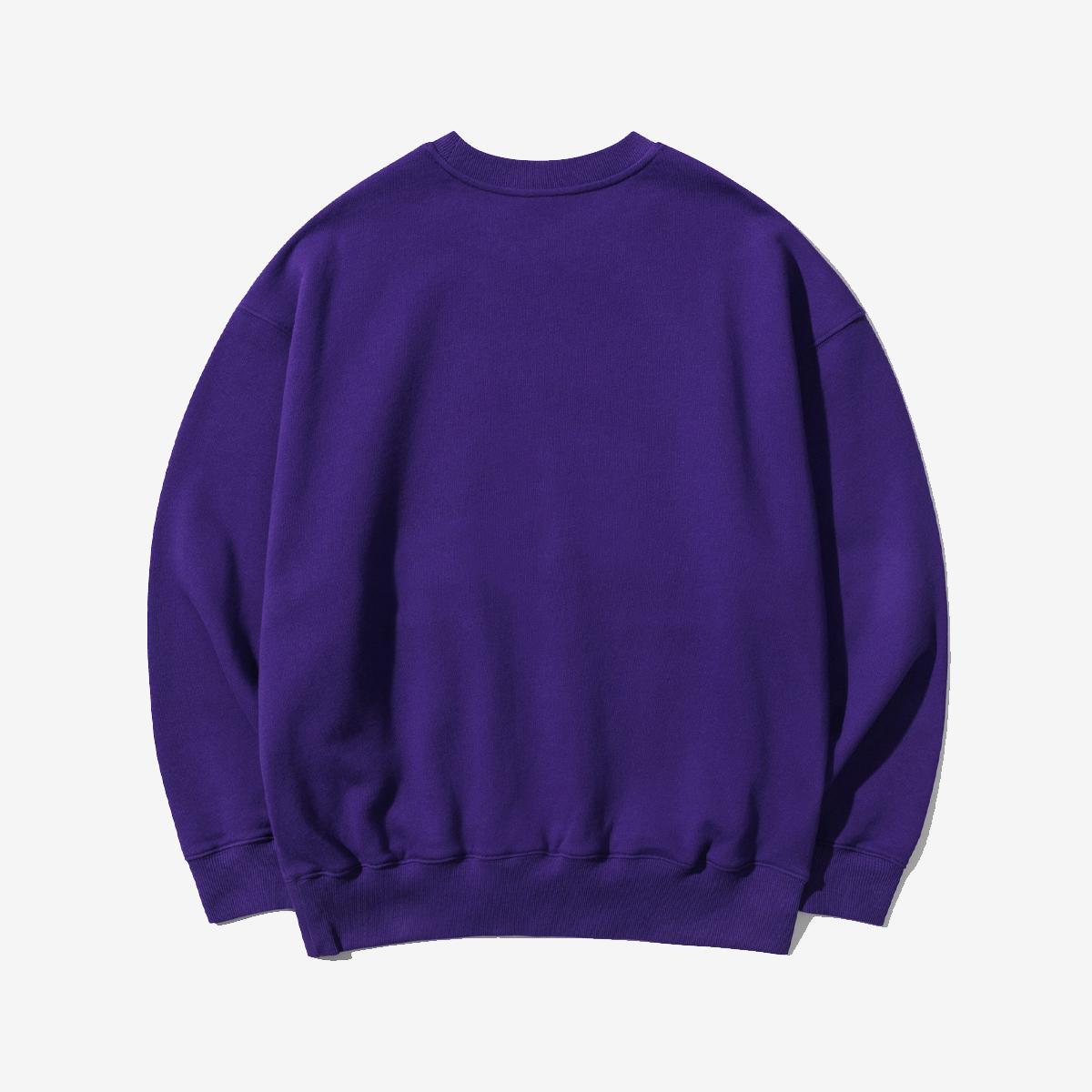 美式字母口袋大學T(紫色)