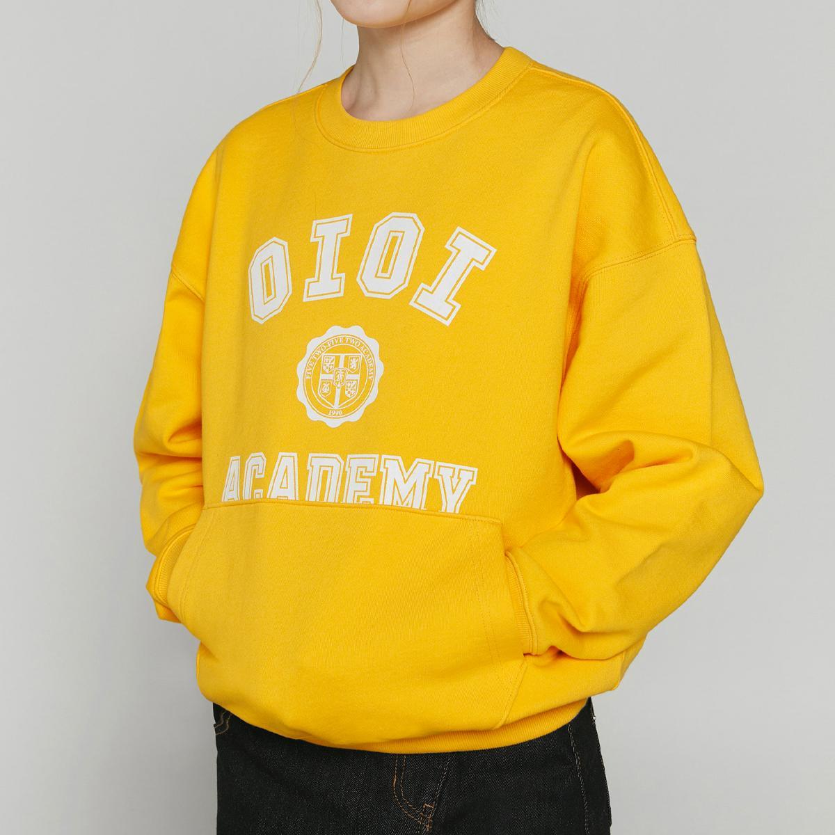美式字母口袋大學T(黃色)