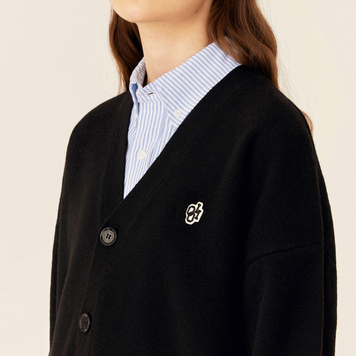 V領針織外套(黑色)