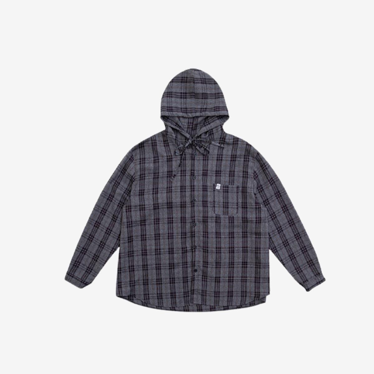 寬鬆連帽格紋襯衫(黑色)