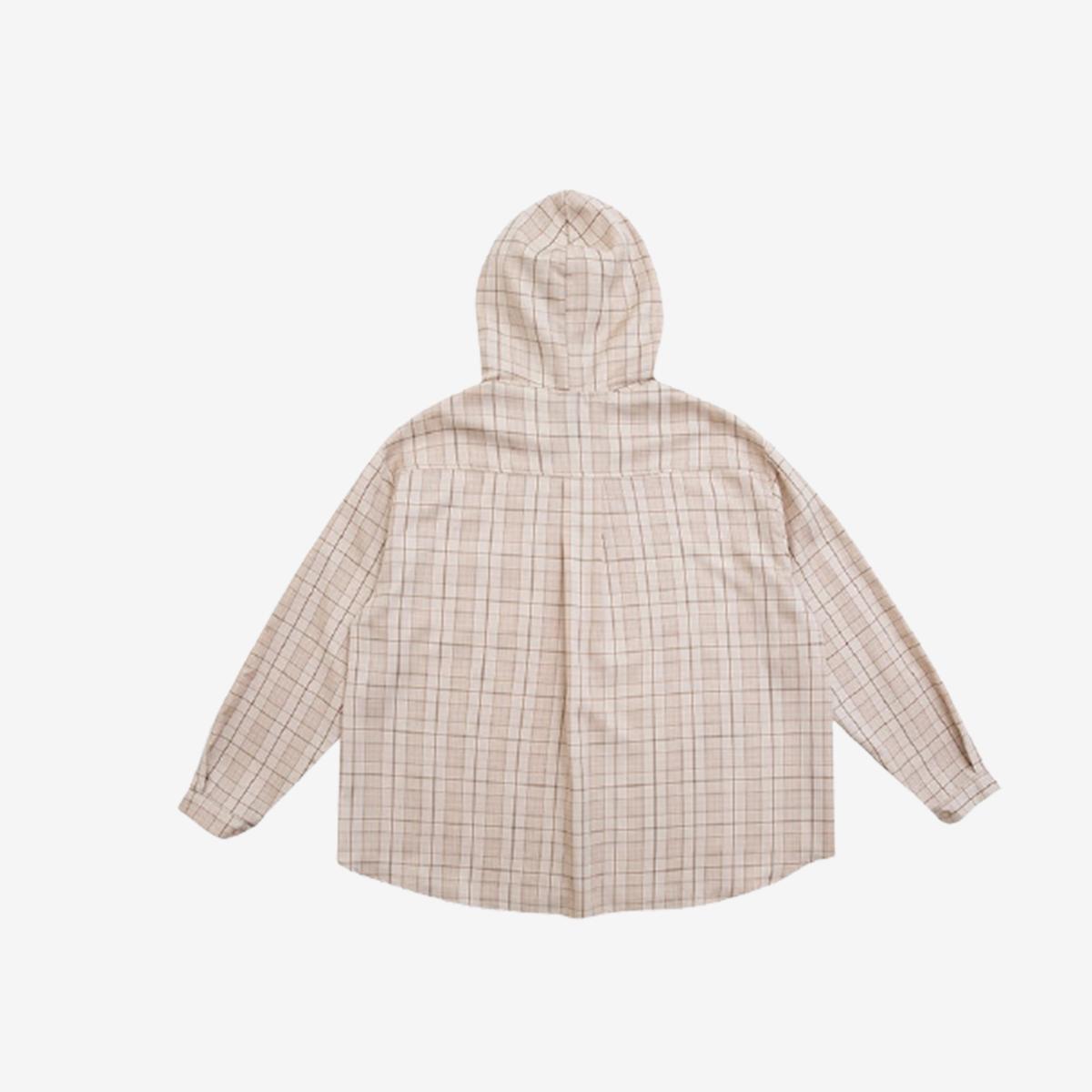 寬鬆連帽格紋襯衫(米色)