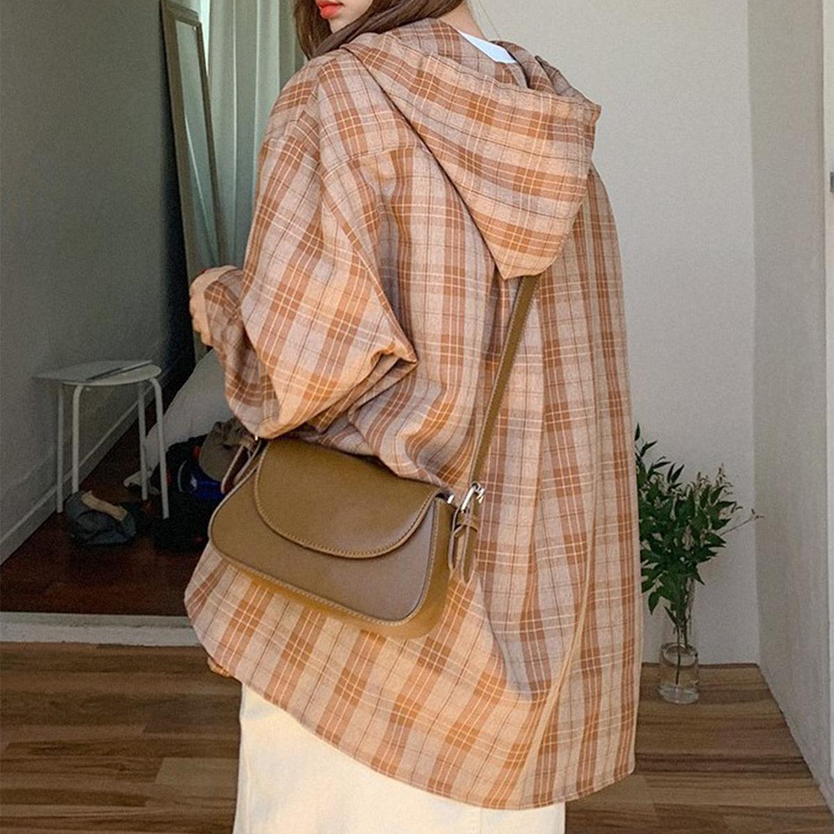 寬鬆連帽格紋襯衫(咖啡色)